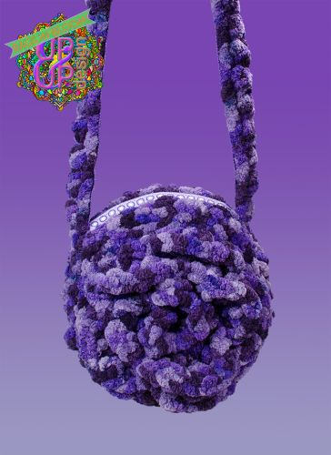 Chenille Rose Circle shoulder bag in color purple