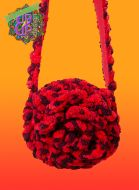 Chenille Rose Circle shoulder bag in color red reddish brown