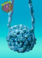 Chenille Rose Circle shoulder bag in color blue turquoise
