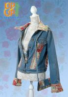 Up & Up upgraded 'Jeans & Victorian Flower Power' jacket SET
